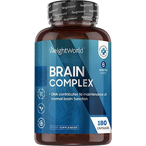 Nootrópico Natural Brain Complex 180 Cápsulas | Suplemento Para el Cerebro Concentración y Memoria, Complejo Multivitaminas y Minerales Con Ginkgo Biloba, Teanina, Taurina, Reduce Cansancio y Fatiga