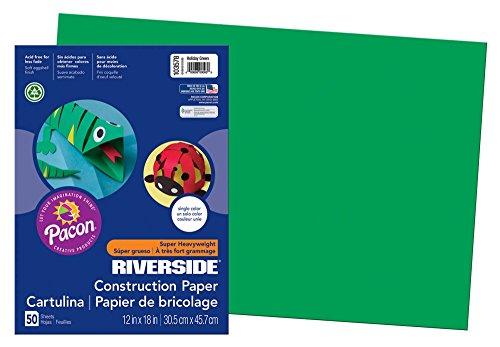 "Riverside 3D Construction Paper, Green,  12""x18"", 50 Sheets"