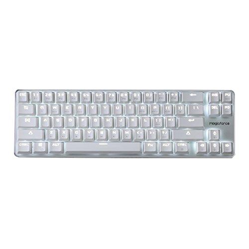 Qisan Gaming Mechanische kabelgebundene Tastatur Cherry MX Red Switch Hintergrundbeleuchtung-Tastatur 68-Tasten Mini-Design-Weiß Silber