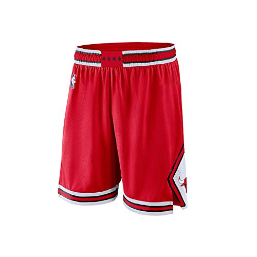 FDWD Pantaloncini da Basket giovanili Chicago Bulls LaVine Jordan da Uomo, Pantaloni Sportivi Sportivi da Esterno Traspiranti e Resistenti all'Usura, Pantaloncini Larghi-Red-S
