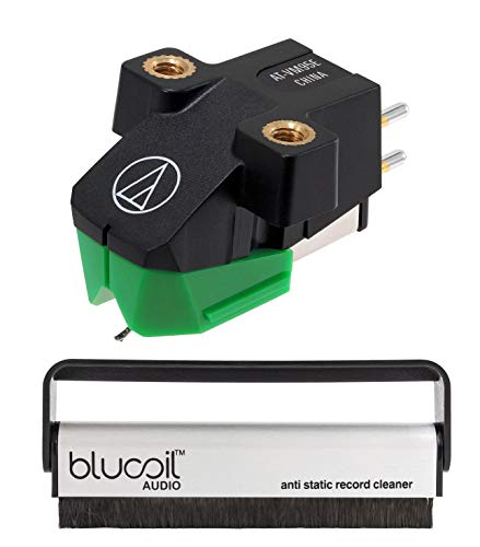 Audio-Technica AT-VM95E Dual Moving Magnet Cartridge Bundle with Blucoil Carbon Anti-Static Vinyl Cleaning Brush