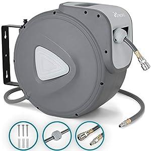 TRESKO® Carrete de Manguera de Aire Comprimido de 10 m | Conector de 1/4″ | Enrollador de Manguera Automático | con Soporte para Pared | Rotación de 180° | Tope Final Ajustable