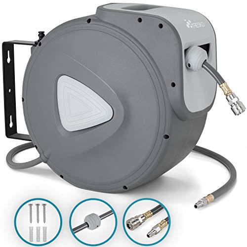 TRESKO Carrete de Manguera de Aire Comprimido de 20 m | Conector de 1/4' | Enrollador de Manguera Automático | con Soporte...