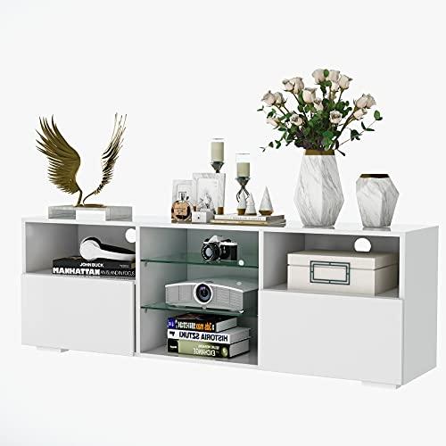 Soporte TV Mueble TV Mesa para TV Moderno Soporte De TV 130 Cm Mesa De Gabinete TV Centro De Entretenimiento con Luces RGB Led De 16 Colores para La Oficina De Dormitorio De La Sala De Estar (Blanco)