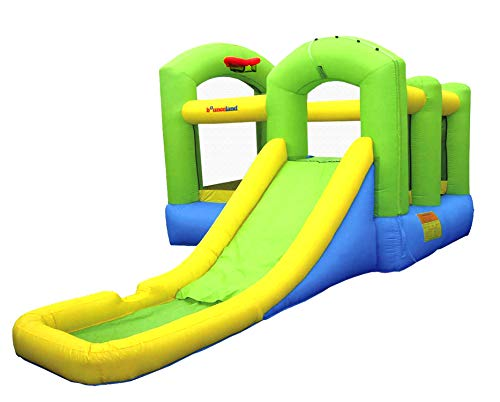 Bounceland Bounce 'N Splash Island Wet or Dry Inflatable Bouncer or Water Slide All in one, Large Pool, Fun Bouncing Area with Basketball Hoop, Long Slide, UL Certified Blower Included