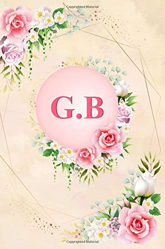 G.B: Elegant Pink Initial Monogram Two Letters G.B Notebook Alphabetical Journal for...