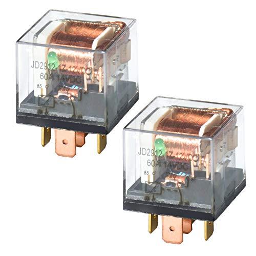 Ehdis 2 Piezas Impermeable Relé para Coche 12V 60A 5 Pin, 1NO SPDT Cargador Cargador de Carga Pesada Cargador de Carga Transparente