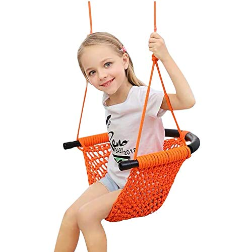 Kids Swing Seat, Outdoor Indoor Swing Seat for Children Teens Adult Anti Rollover U-Shaped Swing with Rope Net Weight Up To 200KG