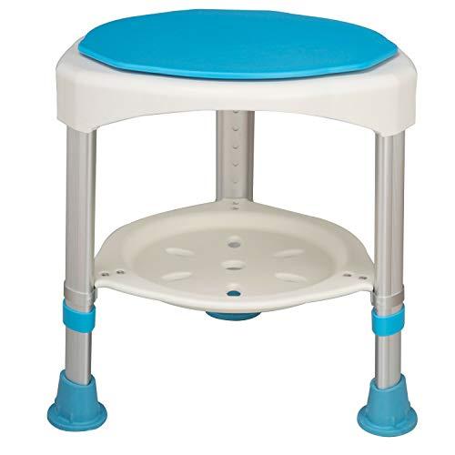 HENGMEI 360° Taburete de baño giratorio Silla de ducha Taburete Ajustable Taburete de Ducha Antideslizante para personas mayors