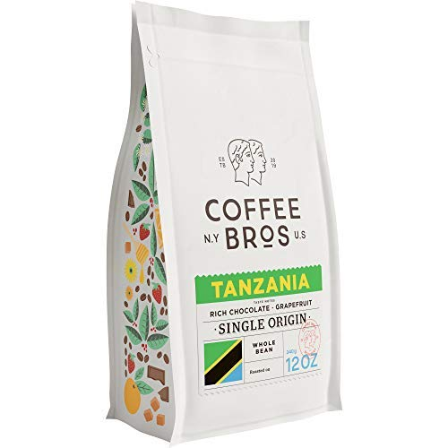 Coffee Bros., Tanzanian Peaberry Single Origin Whole Bean — 100% Arabica — 1 Bag (12oz) — Gourmet & Specialty
