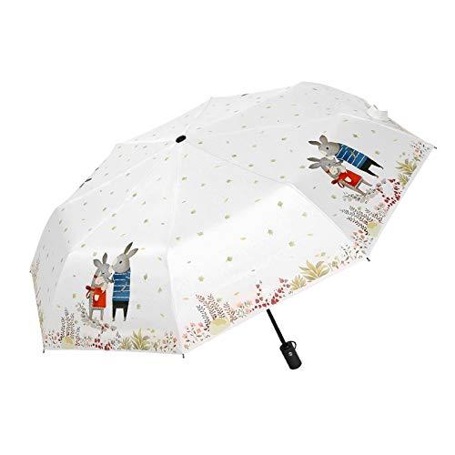 Regenschirme Sonnenschirm Kleiner Automatikschirm Weiblicher UV-Sonnenschirm Dreifachgefalteter Windschirm Für Außen (Color : Weiß, Size : 59 * 97 * 59cm)