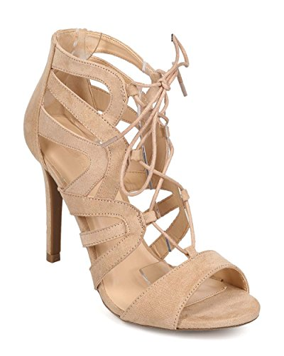 Women Suede Peep Toe Strappy Gilly Tie Single Sole Sandal EG71 - Natural (Size: 9.0)