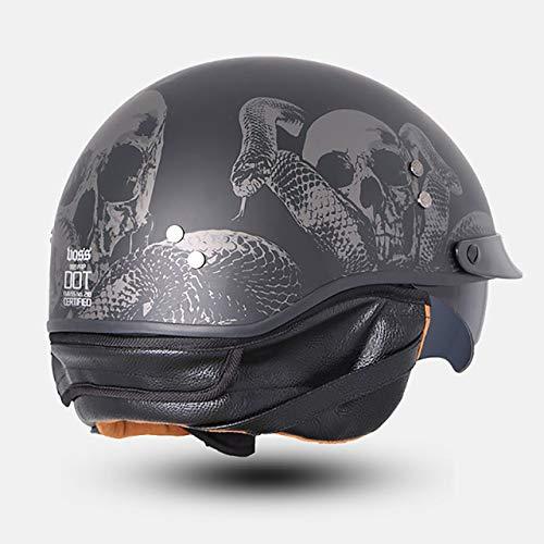 Fiberglas Semi-Motorrad Motorrad Retro Trend Helm, Jet Retro Helm Innenschirm 22 xs