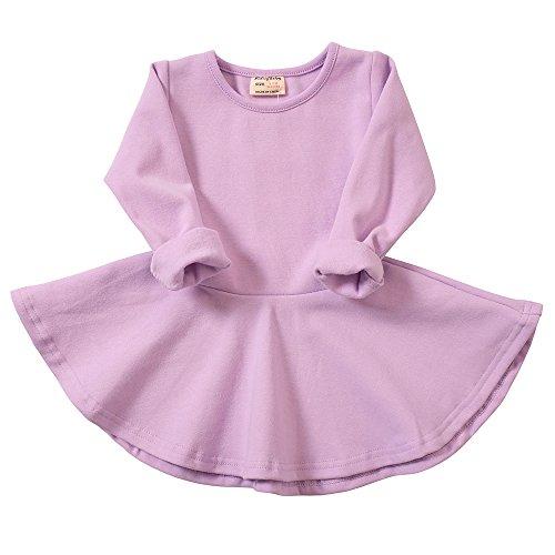 Infant Toddler Baby Girls Dress Pink Ruffle Long Sleeves Cotton (6-9m, Purple)