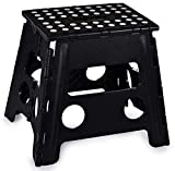 Folding Step Stool, 13 Inch - The Anti-Skid Step Stool is Sturdy to Support Adults and Safe Enough for Kids. Opens Easy with One Flip. Great for Kitchen, Bathroom, Bedroom, Kids or Adults. (Black)