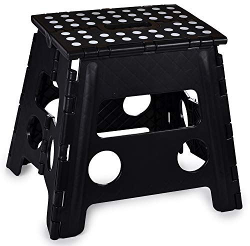 Folding Step Stool 13 Inch  The AntiSkid Step Stool is Sturdy to Support Adults and Safe Enough for Kids Opens Easy with One Flip Great for Kitchen Bathroom Bedroom Kids or Adults Black