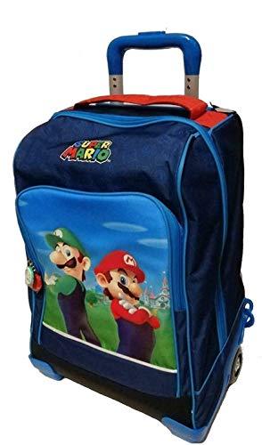 Schulrucksack Trolley Super Mario und Luigi Version Deluxe Reise blau + Federmäppchen 3 Etagen komplett + Tagebuch + Pfeife + Gratis Farbstift