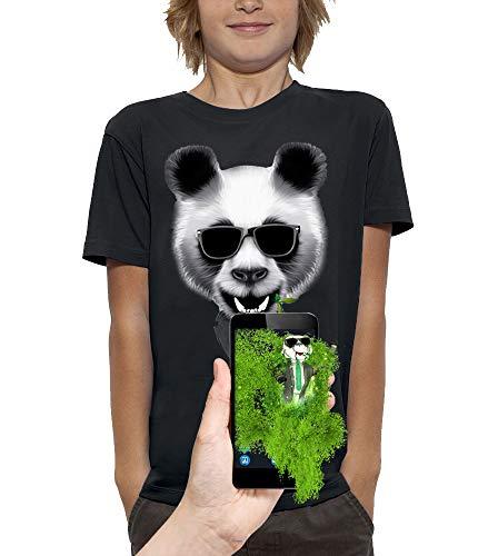 PIXEL EVOLUTION Camiseta 3D Panda en Realidad Aumentada Niño - tamaño 5/6 años - Negro