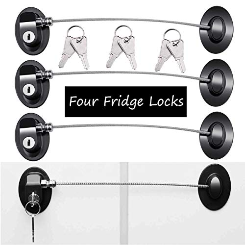Refrigerator Door Locks(4-Pack Black),Mini Fridge Lock, File Cabinet Lock, Drawer Lock, Lock for Cabinet, Child Safety Lock Refrigerator Lock