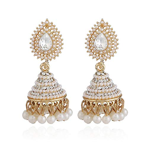 1 Paar Retro indische Bell-Ohrring-Perlen-Kristallanhänger-Tropfen-Ohr-Bolzen-Frauen-Mädchen-Hochzeit baumelt Partei Schmuck Regard