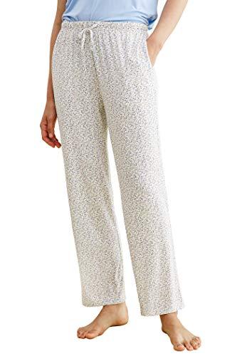 Latuza Women's Bamboo Viscose Floral Pajama Lounge Pants L Purple Petunia