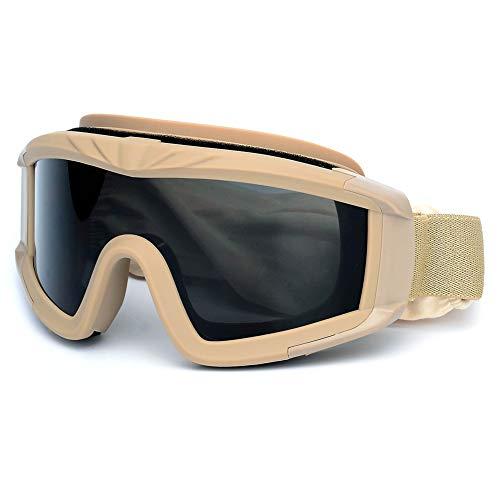 SPOSUNE Outdoor Sport Militär Airsoft Taktische Airsoft-Brille mit 3 austauschbaren Gläsern Schlagfestigkeit Jagdbrille, UV400-Schutz Schießbrille für Männer Frauen Motorradfahren Wargame Paintball