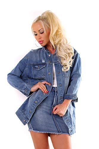 OSAB-Fashion 4787 Damen Jeansjacke Damenjacke Lange Jacke Leichter Jeans-Parka Denim Streetwear