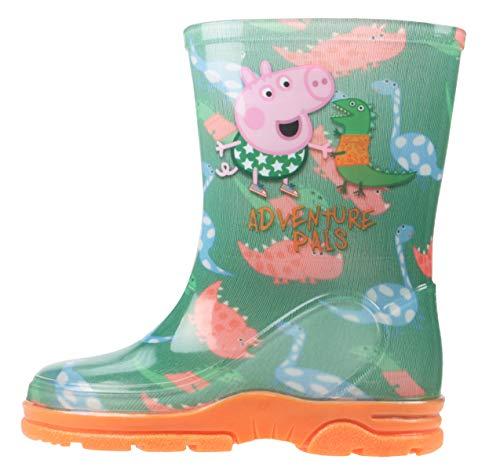 Niño Niña George de Peppa Pig Botas de Agua Botas Agua Botas Números GB 4-10 - Verde, 25 EU