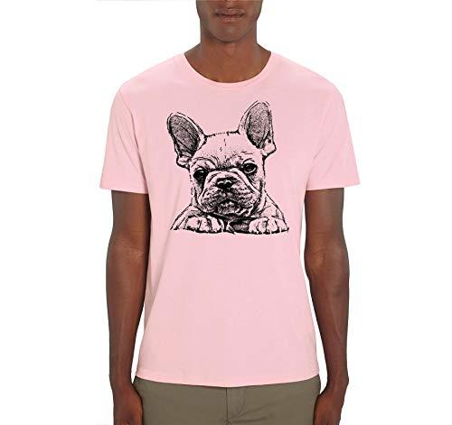 French Bulldog Frenchie Sketch Print - Maglietta da uomo rosa S