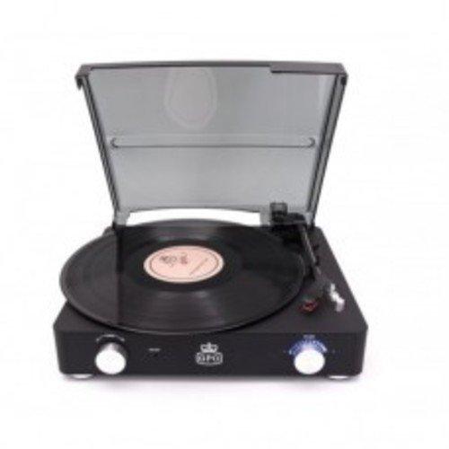 GPO SW508CBLA STYLO II Turntble with Speakers Rubberised Black