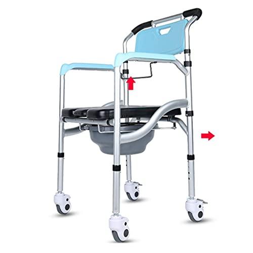 N&O Renovation House Medizinische Nachtkommoden Toilettensitz Rollkommode mit gepolsterten Sitzbremsen und Fußstützen Robuster Nachttisch-Toilettenstuhl Seniorenchirurgie Genesung