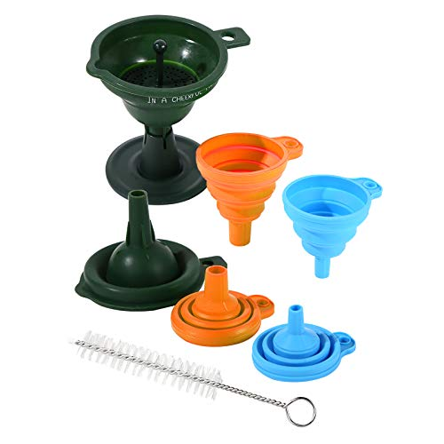 3Pcs Kitchen Funnels for Filling Bottles Plastic Funnel Removable Strainer Filter Silicone Collapsible Funnel for Liquid Fluid Dry Ingredients and Powder Transfer 3 Sizes