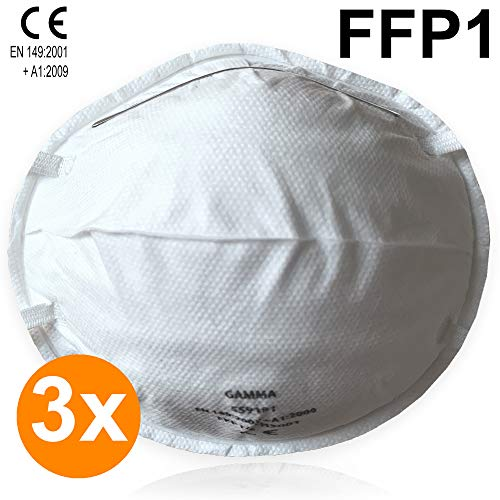 Set di 3 maschera di protezione respiratoria - maschera di respirazione FFP1 - regolabile individualmente per bambini e adulti - (bianco)