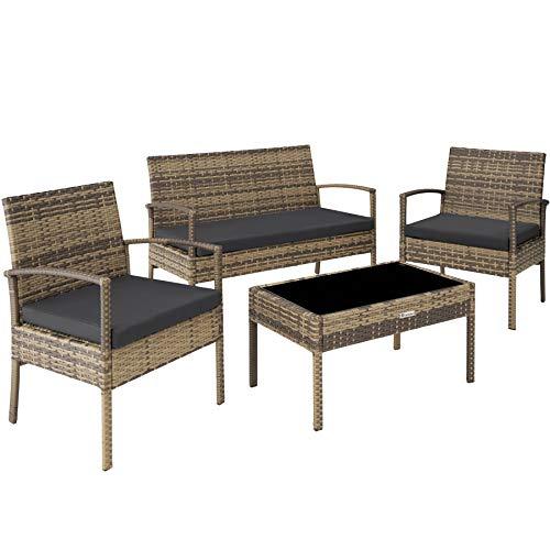 TecTake Poly Rattan Sitzgruppe, Gartenset mit 2 Stühlen, Bank + Tisch mit Glasplatte, Lounge Set für Garten, Terrasse und Balkon (Natur)