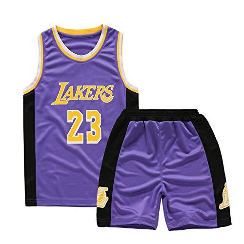 L.A. Lakers Lebron James NO.23 Kinder-Basketball-Uniformen Atmungsaktiv Schweißabsorbierend Sommer Student Ausbildung Uniformen Benutzerdefinierte Weste Tops,Lila,XL
