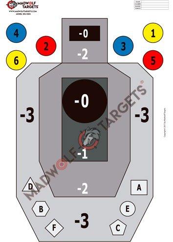 Madwolf Targets Siluetas Tiro táctico IPSC .Multitarea, precisión e instintivo. (84,1 x 59,4 cm) (Pack 20 Siluetas)