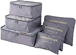 6 مجموعات من صناديق التعبئة - منظم اغراض السفر الضاغط - حقيبة تخزين للملابس - حقيبة تخزين شبكية للسفر - حقيبة غسيل - عبوة ...