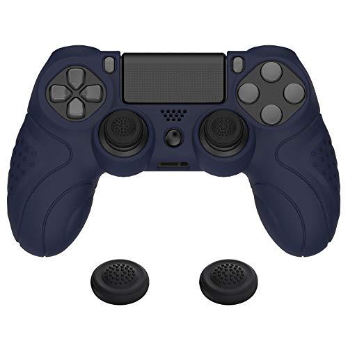PlayVital Cover Custodia per PS4 Slim Pro Controller Skin Protettiva per Dualshock 4 Silicone Antiscivolo per Playstation 4 Joystick con Gommini Coprilevette Analogiche-Guardian Edizione(Blu)