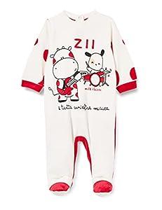 Chicco Tutina In Ciniglia con Apertura Sul Patello Mamelucos para bebs y Nios pequeos, Blanco y Rojo, 74 cm Unisex bebé