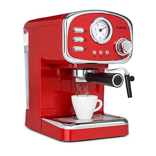 Klarstein Espressionata Gusto Espressomaschine, 1100 Watt, 15 Bar Druck, Volumen Wassertank: 1 Liter, abnehmbares Tropfgitter aus Edelstahl, spülmaschinenfeste Tropfschale, rot