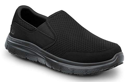 Skechers Work Ella - Women's Black, Soft Toe, MaxTrax Slip Resistant, Slip-on Athletic (9.5 M)