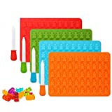 Gummy Bear Molds, 4 PCS Candy Silicone Molds and 4 PCS Droppers, Delicious