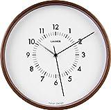 LAiMER Orologio da parete in legno di noce con quadrante bianco, diametro 30 cm, movimento al quarzo con batteria, facile da leggere - per cucina, soggiorno e camera da letto - decorazione