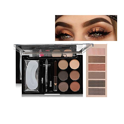 Augenbrauenfarbe- Augenbrauenpuder-Kit 6 Farbe, Augenbrauenstift Braun, Pinsel & Augenbrauen Schablone, Ideales Eyebrow Powder Kit (02)