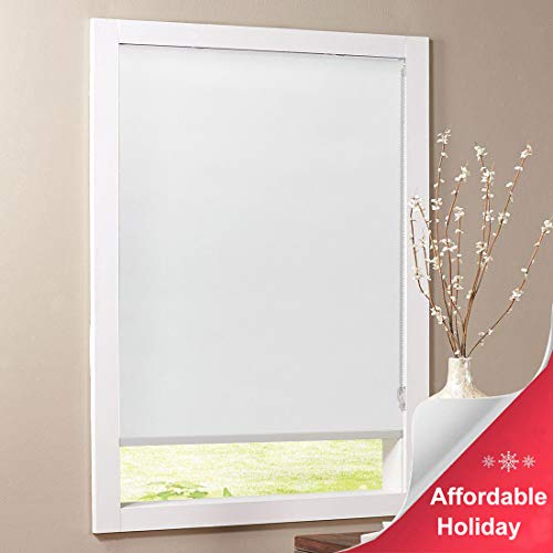 Keego Blackout Bathroom Roller Window Shades, Custom Made Oil Proof Waterproof an-ti UV Kitchen Blinds[White 100% Blackout,34' W x 60' H(Inch)]