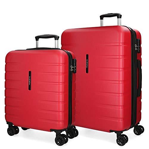 Movom Turbo Juego de maletas Rojo 55/69 cms Rígida ABS Cierre combinación 117L 4 Ruedas dobles Equipaje de Mano