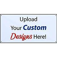 半額価格バナー カスタムデザイン ビニールバナー インドア/アウトドア 2X4フィート ホワイト カスタマイズデザイン ジップタイ付き 米国製