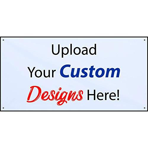 HALF PRICE BANNERS | Customize Now with Online Designer-Indoor/Outdoor Vinyl Banner 2X4 Foot-White|Includes Zip Ties|Easy Hang-Made in USA