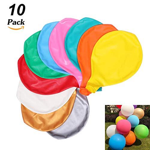 10 Stück Grosse Luftballons Bunt 90cm ,36 Zoll Luftballon Helium, Latex Riesige Ballon Dekoration für Hochzeit Geburtstag Taufe Babyparty Kinder Party Festival (Mehrere Farbe)