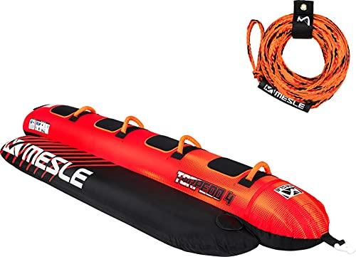 MESLE Paquete de Tubo Remolcable Torpedo con Cuerda, 2, 3, 4 Personas, Banana-Boat Inflable, para Niños y Adultos, Fun-Tube para Deportes Acuáticos, Esquí Acuático Skibob, Personenanzahl:4P